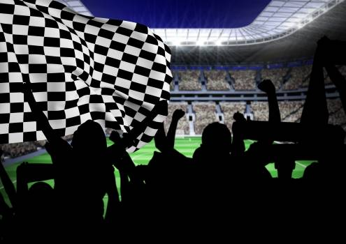 Fans holding checker flag and cheering in stadium #414455
