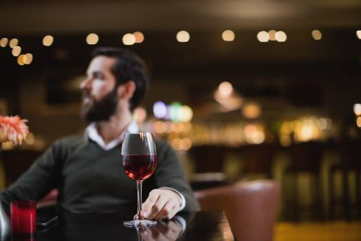 Man sitting with glass of wine #414505