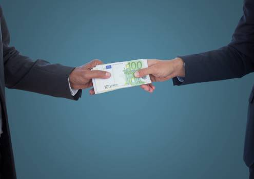 Business money exchange against blue background #414531