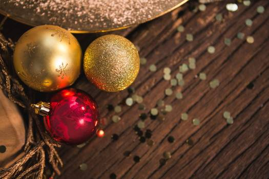 Christmas bauble ball on wooden plank #414568
