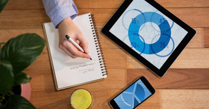 Digital tablet and mobile phone on table with hand writing on notebook #414607