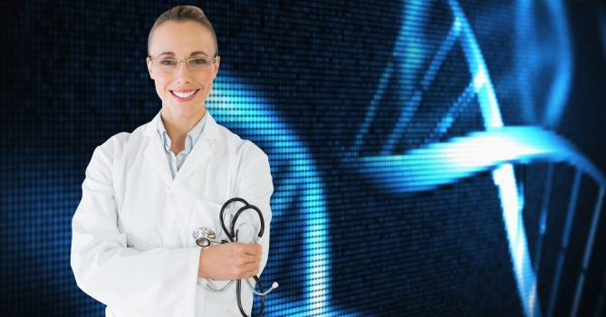 Female doctor with stethoscope against medical background #414614