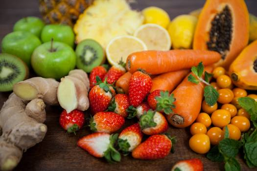 Variety of fresh vegetables and fruit on table - diet concept #414616