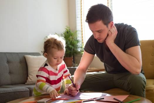 Man teaching drawing to daughter #414685