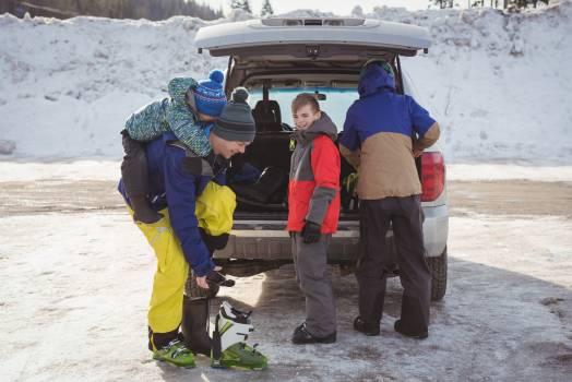 Family preparing for ski #414775