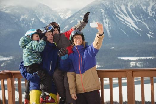 Happy family taking selfie on mobile phone #414792