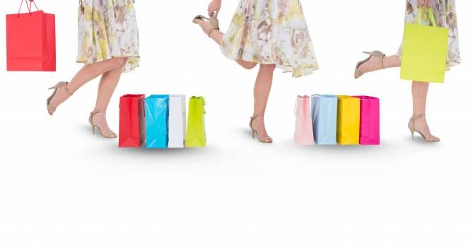 Multiple image of woman with shopping bags Free Photo