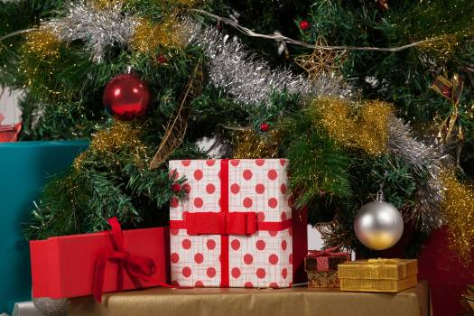Close-up of various presents and christmas tree #415085