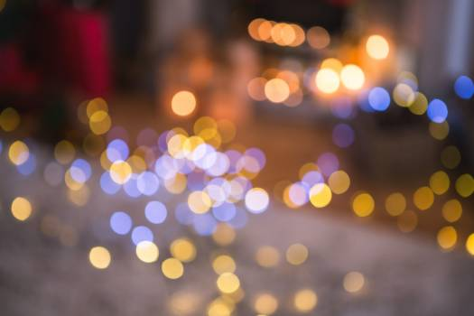 Defocused of christmas tree lights and fireplace #415091
