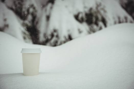 Disposable coffee cup in a snowy landscape #415112