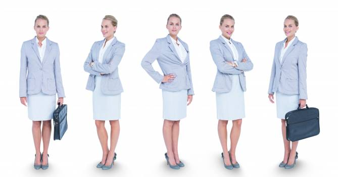 Multiple image of confident businesswoman carrying briefcase #415372