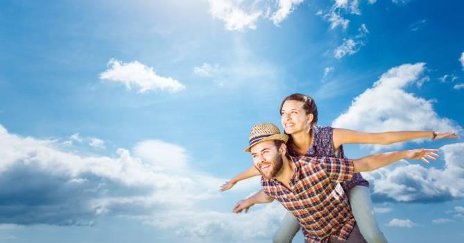 Happy couple flayiung #415611