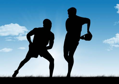 Silhouette of men playing rugby #415630