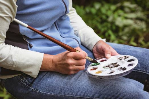 Senior woman painting in the forest  #415683