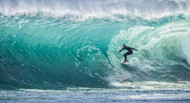 Surfer Surfboard Sea Wave Ocean Free Photo #416084