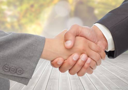 Business executives shaking hands against wooden plank #416135