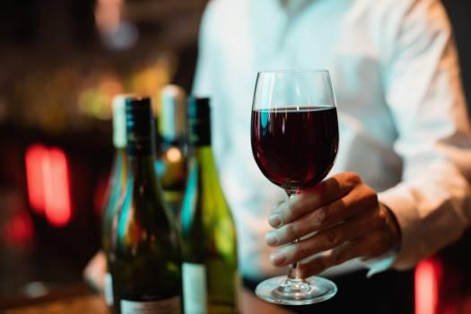 Bartender holding glass of red wine #416187