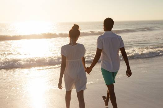 Couple walking together hand in hand on the beach #416363