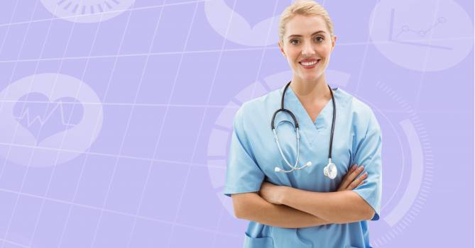 Surgeon with stethoscope and arms crossed standing against digitally generated background #416388