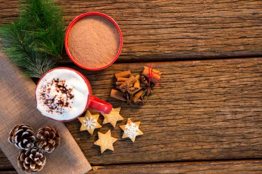 Pine cone, coffee cup, sweet food, cinnamon and christmas fir with napkin #416506