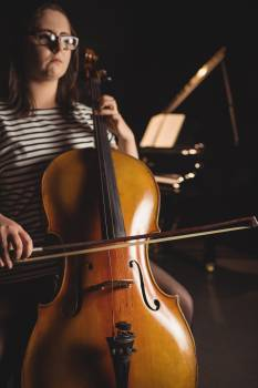Female student playing double bass #416514