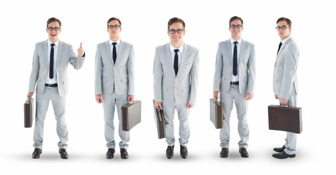 Multiple image of businessman carrying briefcase Free Photo