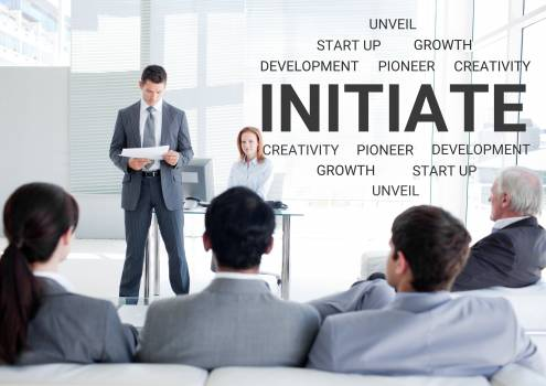 Businesspeople in meeting and motivational text #416710