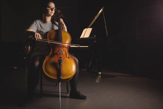 Female student playing double bass #417164