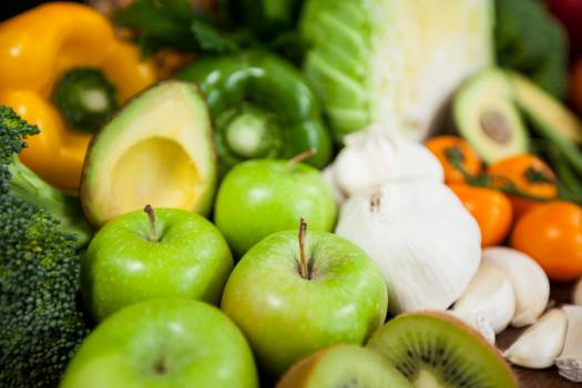 Variety of fresh vegetables and fruit on table - diet concept #417223