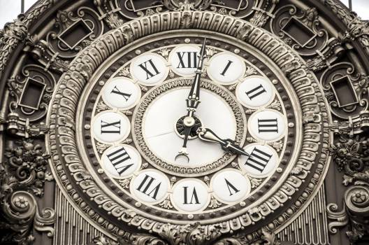 Roman Numeral Round Analog Clock at 4:02 Free Photo