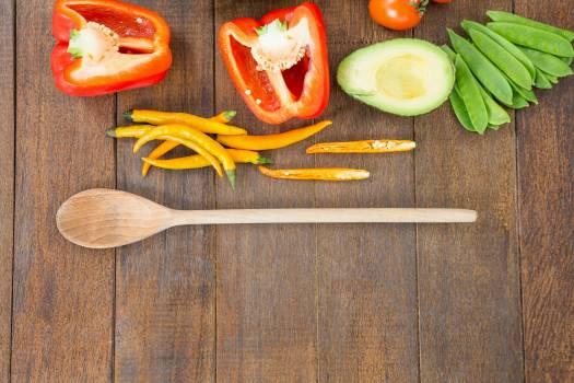 Various vegetable ingredients and spoon #417417