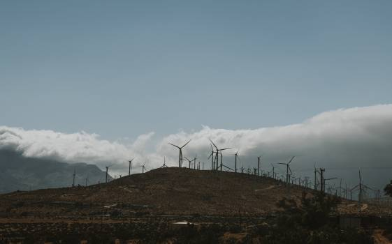 Wind turbine farm on a desert land #417969