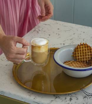 A Cappuccino And Waffles #418360