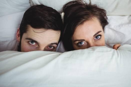 Portrait of happy couple having fun in bedroom #418464