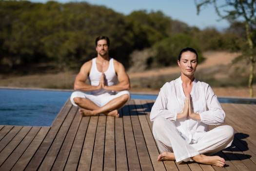 Couple performing yoga at safari vacation Free Photo