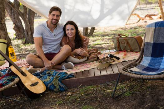Portrait of young couple in tent #418767