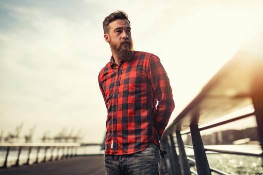 Man Beard Red Plaid #419032