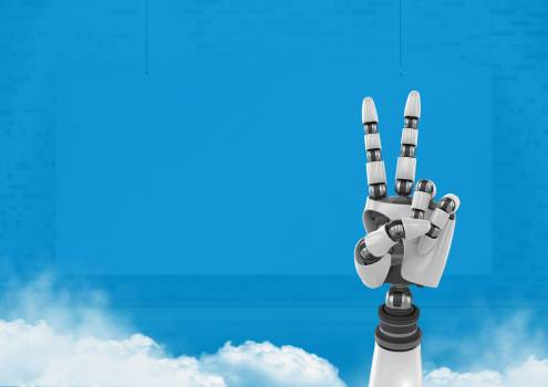 Android Robot hand peace gesture with blue background Free Photo
