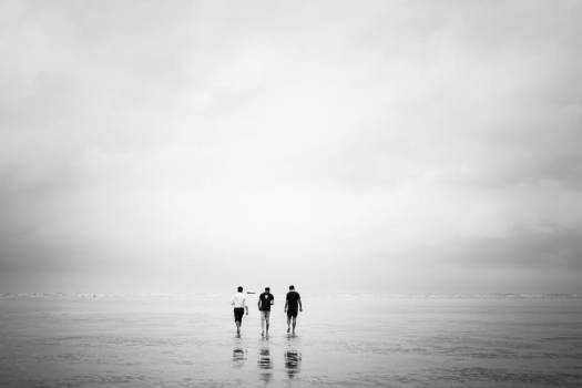 Three Men Walk Out Over A Low-Tide Beach #419438