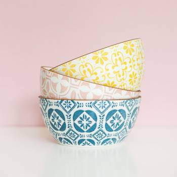 Patterned Bowls Against Pink #419459
