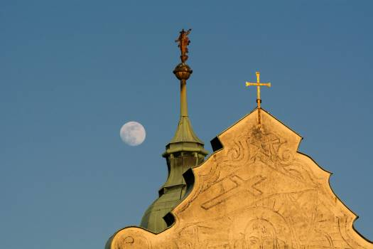 Top of Christian Church and Moon - Free Image For Commercial Use #419616