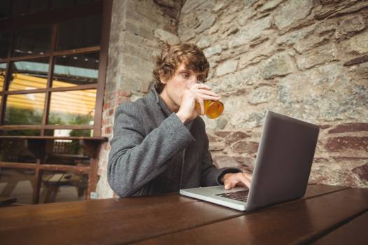 Mid section of man holding glass of beer and using laptop #419857