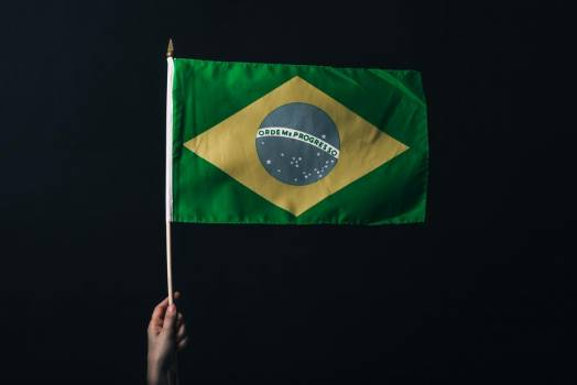 Brazilian Flag Against Black #420124