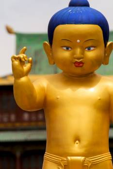 Golden Statue of Buddha as a Child - Free Image For Commercial Use Free Photo