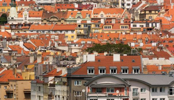 Cityscape of Town Houses Roofs - Free Image For Commercial Use Free Photo