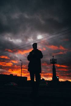 Man Silhouette Sunset Free Photo