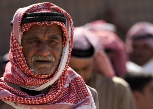 Man Wearing Red White Keffiyeh Free Photo