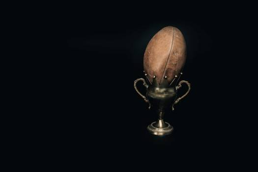 An Old Leather Football And Trophy #421705