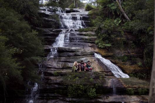 Group of People on Grey Black and White Water Falls #42205