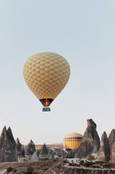 Yellow and White Hot Air Balloon #422353